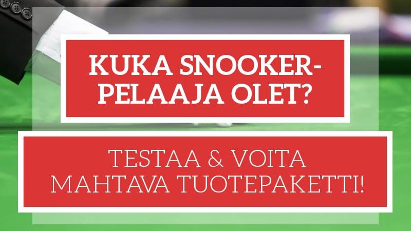 Testaa, kuka snooker-pelaaja olet ja voita upea snooker-tuotepaketti!